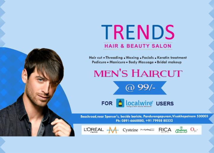 Get Men's Haircut at 99 Rs - Trends RK Beach