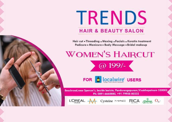 Get women's Haircut at Rs 199 - Trends RK Beach