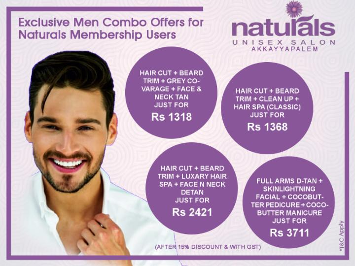 Combo Offers for Men - Naturals Membership Users