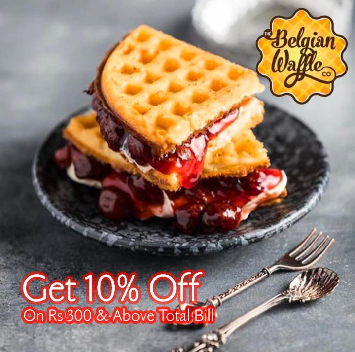 Get 10% Off on Rs 300 Above Bill - Belgian Waffle