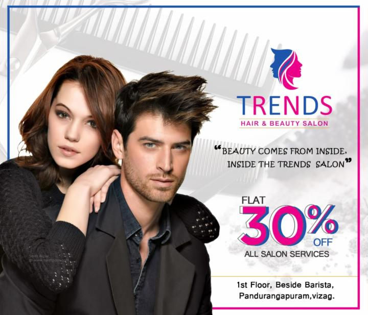 Flat 30% Off on All Salon Services at Trends Salon