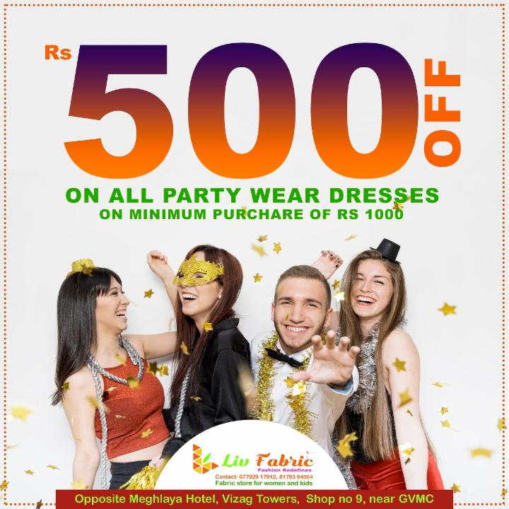 Rs 500 Off on Party Wear Dresses at Liv Fabric
