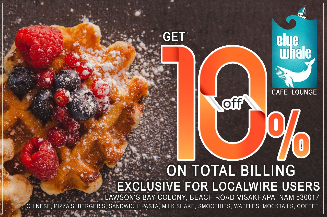 Get 10% Discount on Total Bill - Blue Whale