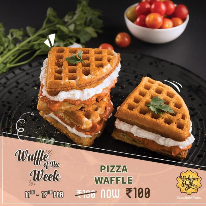 Get Pizza Waffle at Just Rs 100 - Belgian Waffle