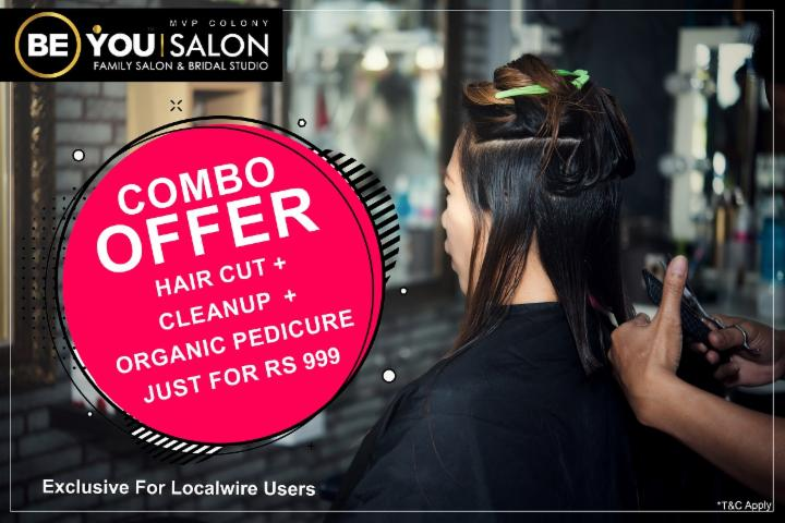 Hair cut combo offer at Be You Salon MVP Colony