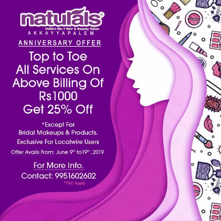 Anniversary Offer Get 25% Off at Naturals Akkayapalem