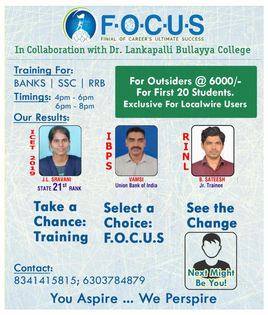 Training for Banks | SSC | RRB @ FOCUS Institute
