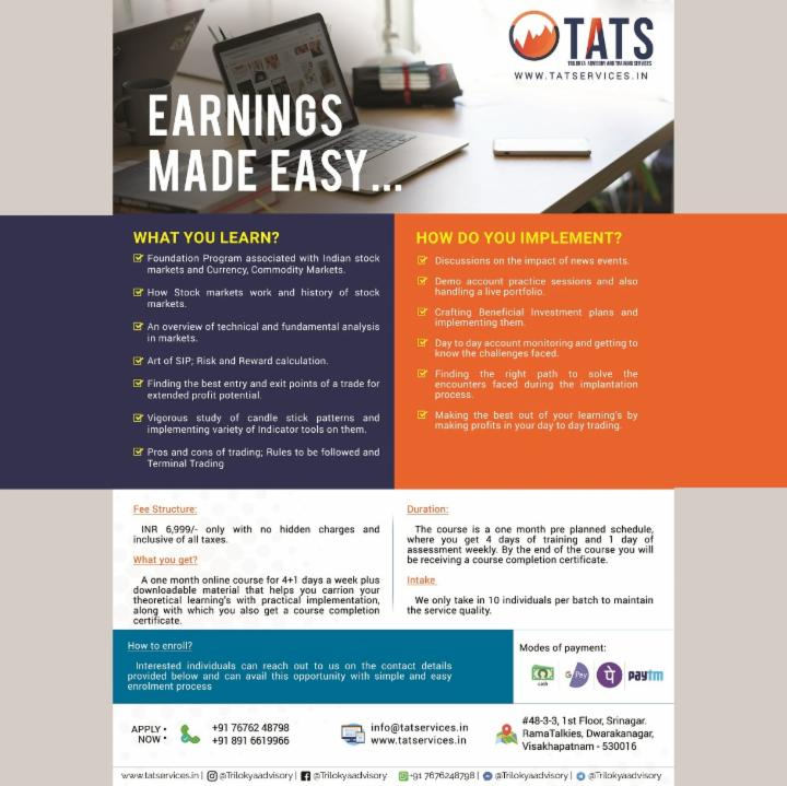 Earnings made easy -Trilokya advisory and training services
