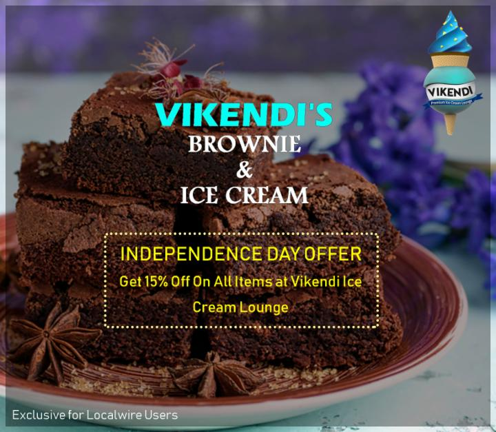 Get 15% Off on Independence Day at Vikendi's ice-cream Lounge