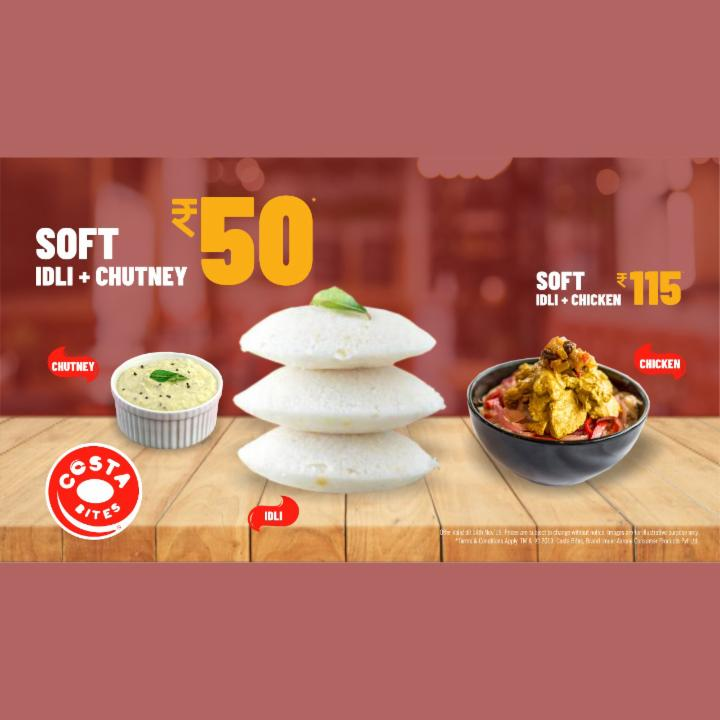 Get Soft Idly and Chutney at 50 Rupees