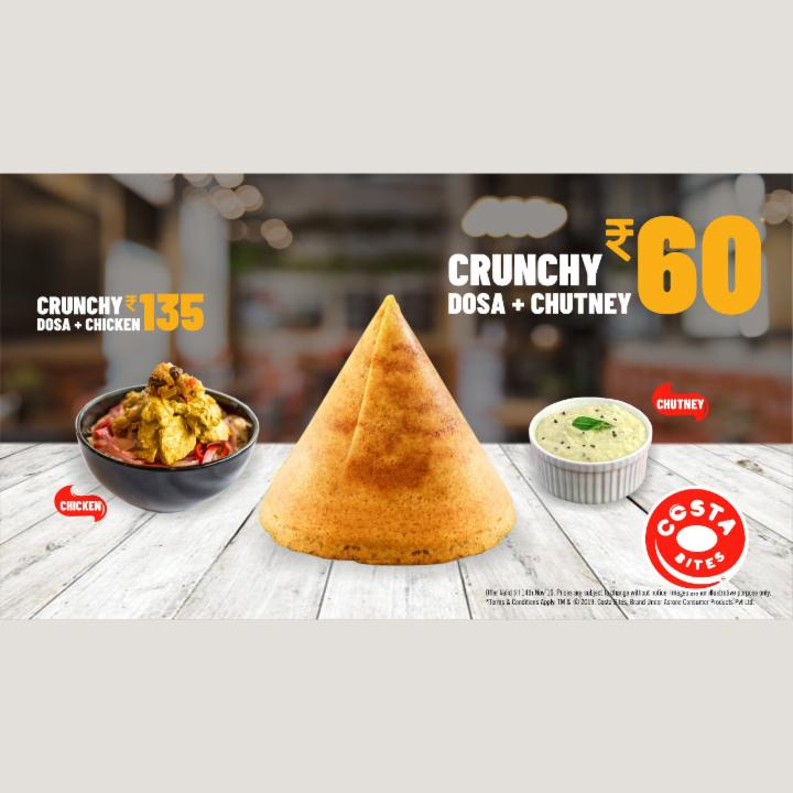 Get Crunchy Dosa and Chutney at 60 Rupees