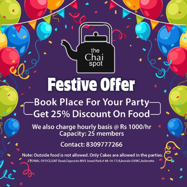 Book a Place For Your Party - Get 25% Off on Food