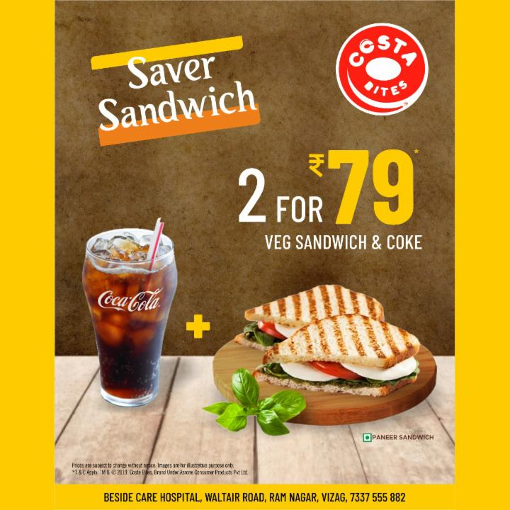 Get Sandwich and Coke Just for 79 Rupees at Costa Bites