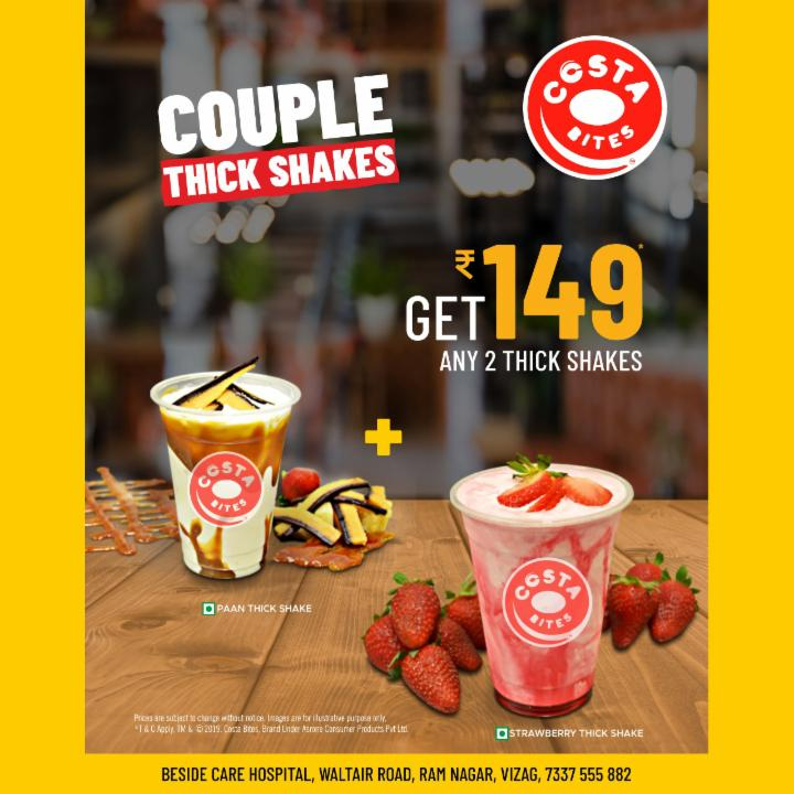 Get Any Two Thick Shakes  Just for 149 Rupees At Costa Bites