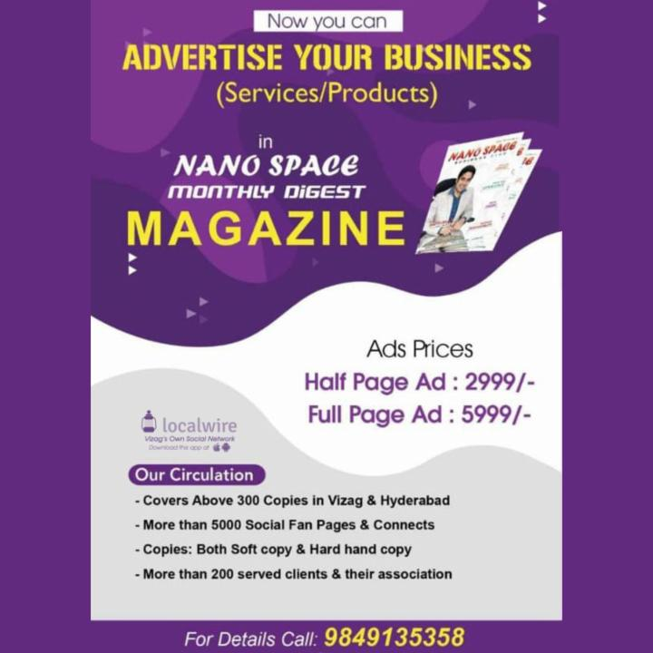 Advertise Your Business in Nano Space Monthly Magazine